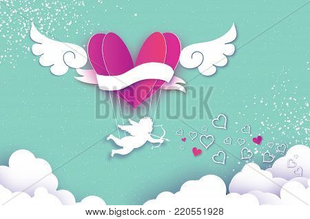Flying Cupid - little angel. Love Pink Heart in paper cut style. Origami boy - Cherub. Purple hot air balloon flying. Love, angel wings on blue sky. Happy Valentine day. Romantic Holidays. 14 February. Vector