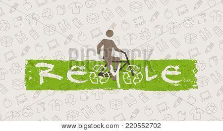 ReCycle vector illustration. Man with bicycle and recycle signs graphic design. Recyclable things cardboard box, electronics, bottles, food, paper, packaging line art pattern on the background.