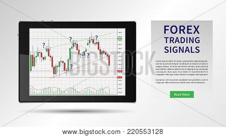 Forex Trading vector illustration. Forex trading on the candlestick chart graphic design.