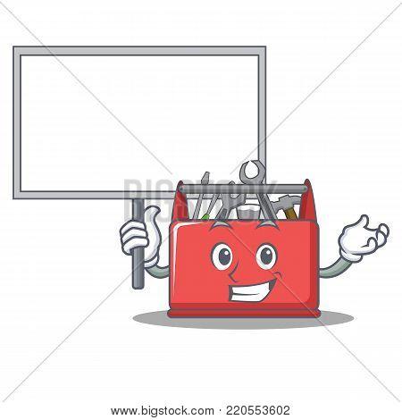 Bring board tool box character cartoon vector illustration