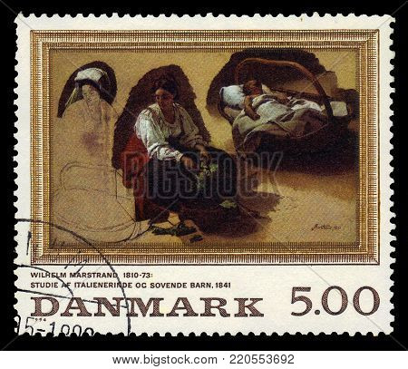 DENMARK - CIRCA 1994 A stamp printed in Denmark shows a painting