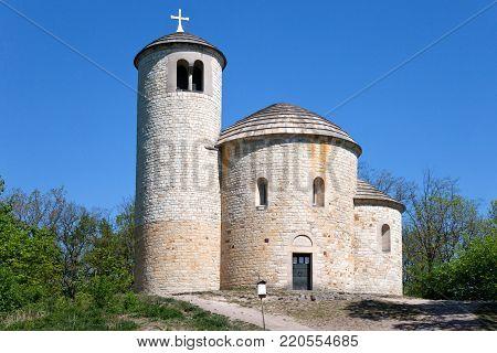 st. Jiri and Vojtech romanesque rotunda from 1126 on Hora Rip Hill (national cultural landmark), Bohemia, Czech republic