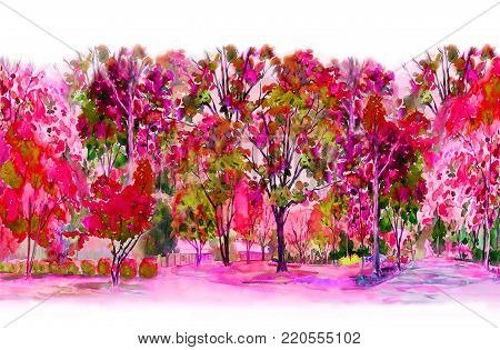 Watercolor painting colorful of pink,red flowers garden trees and with Live in home the midst of nature spring and on white background. Painted Impressionist, illustration.