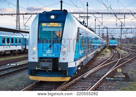 CZECH REPUBLIC, PRAGUE - DEC 15, 2017: Inter Panter fast train, Smichov railway station, Prague, Czech republic