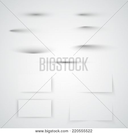 Transparent soft shadow set. Realistic shadow effect collection with soft edge. Vector illustration isolated on white background