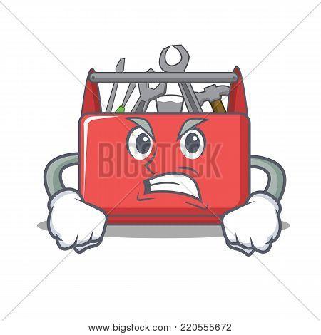 Angry tool box character cartoon vector illustration