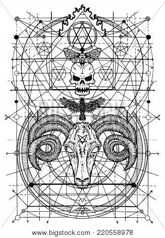Graphic illustrations with symbols of death and devil signs. Fantasy and secret societies emblems, occult and spiritual mystic drawings. Tattoo design, new world order