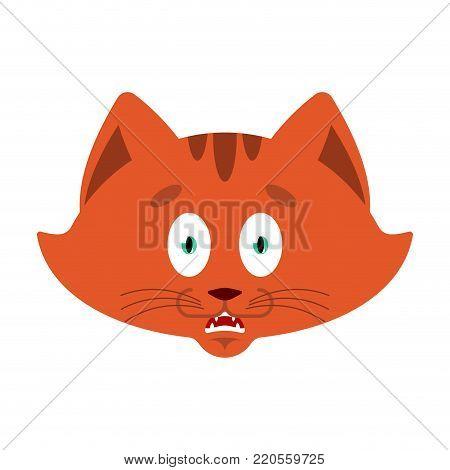 Cat scared OMG emotion. Pet Oh my God emoji. Frightened kitty. Vector illustration