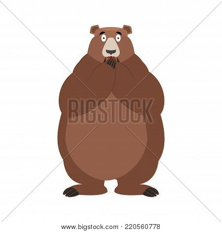 Bear scared OMG. Animal Oh my God emoji. Frightened Grizzly. Vector illustration