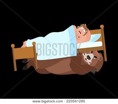 Bear under bed. frightened Man sleeps on bed. Vector illustration.