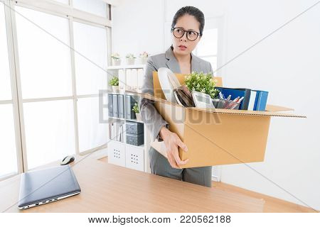 Business Woman Packing Personal Company Belongings