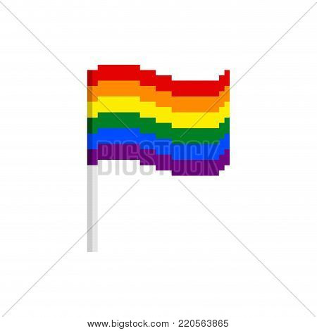 LGBT Pixel flag. Pixelated banner lesbian, gay, bisexual, and transgendered. bit icon. Vector illustration