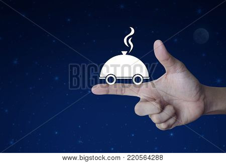 Restaurant cloche flat icon on finger over fantasy night sky and moon, Food delivery concept