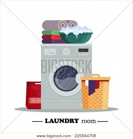 Laundry room with washing machine, powder, basket, basin, underwear isolated on white background. Household equipment for washing - flat vector illustration.