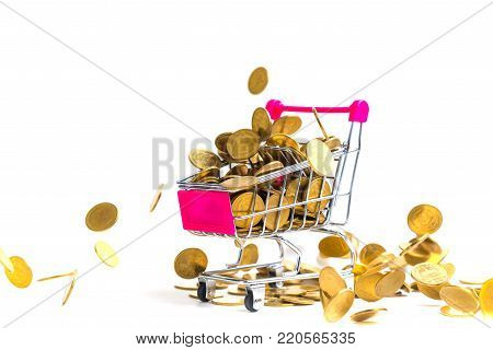 Falling Gold Coins With Shopping Cart Or Supermarket Trolley Isolated On The White Background, Busin
