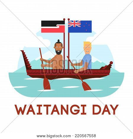 llustration of New Zealand native inhabitant Maori and British man are in the boat with oars and flags on white background with lettering. New Zealand Waitangi Day on the 6th of February.