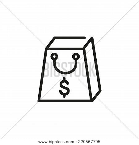 Icon of shopping bag with dollar. Purchase, buying, currency. Consumerism concept. Can be used for topics like spending money, commercial activity, retail, sale