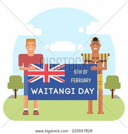 illustration of New Zealand native inhabitant Maori with a Europian. New Zealand Waitangi day topic.