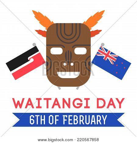 llustration of New Zealand native inhabitant Maori s mask, Maori and New Zealand flag. New Zealand Waitangi Day on the 6th of February.