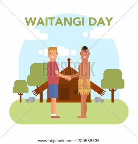 illustration of New Zealand native inhabitant Maori with a Europian on traditional Maori s house background. New Zealand Waitangi day topic.