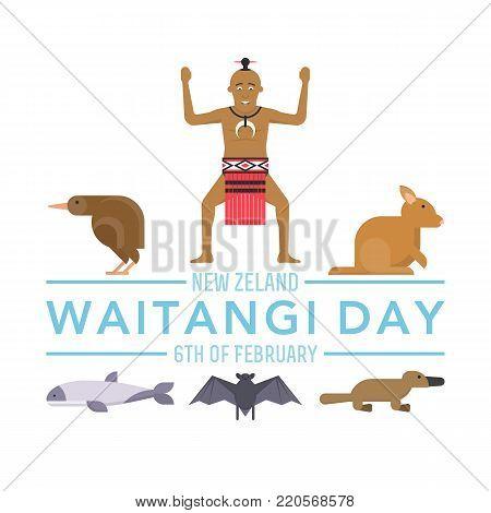 illustration of New Zealand native inhabitant Maori on white background with australian Fauna. New Zealand Waitangi Day the 6th of February .