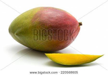 Mango isolated on white background one whole one slice