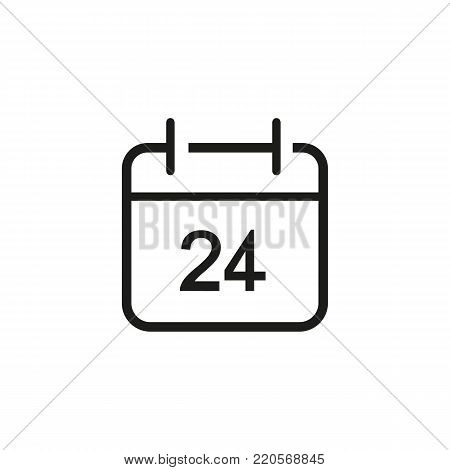 Line icon of twenty four hour on board. Calendar, personal organizer, all day shop. Business concept. Can be used for topics like marketing, planning, time management