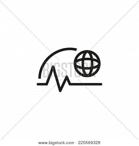 Line icon of worldwide trends. Market research, analysis, weather, forecast. Analytics concept. Can be used for topics like business, trade, marketing
