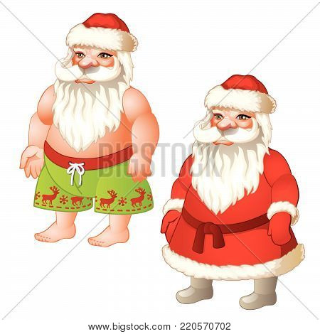Santa and naked Santa Claus isolated on white background. Sample of poster, party holiday invitation, festive banner, card. Vector cartoon close-up illustration.