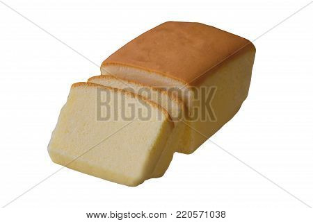 Slices butter cake or pound cake to pieces on white isolated background with clipping paths. Delicious soft and moist butter cake for coffee break or afternoon tea. Classic butter cake for homemade bakery concept. Delicious plain butter cake.