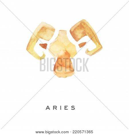 Aries zodiac sign, part of zodiacal system watercolor vector illustration isolated on a white background with lettering