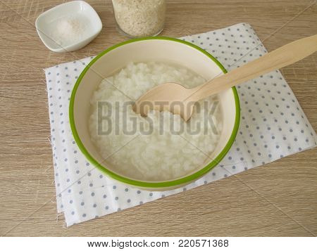 Rice congee with salt in soup bowl
