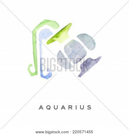 Aquarius zodiac sign, part of zodiacal system watercolor vector illustration isolated on a white background with lettering
