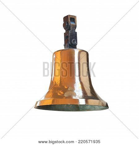 Ships bell from brass isolated on white background
