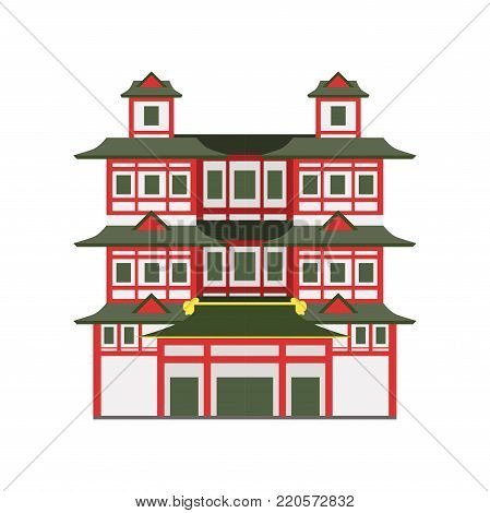 Buddha Toothe Relic Temple, Singapore vector Illustration on a white background