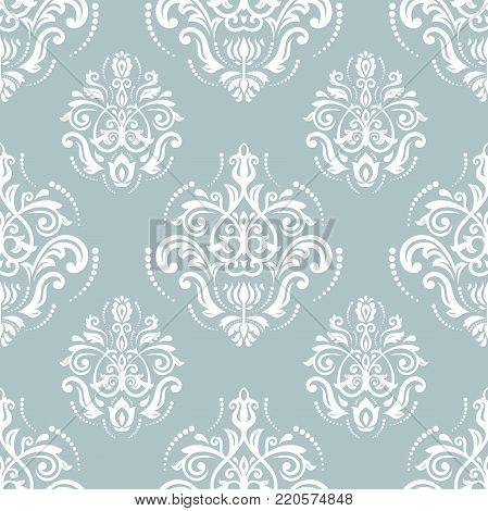 Orient vector classic blue and white pattern. Seamless abstract background with vintage elements. Orient background