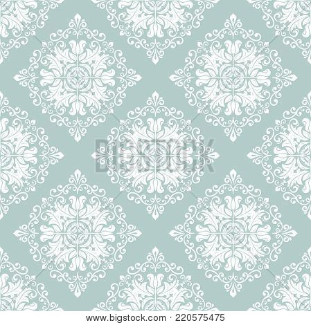 Orient vector classic pattern. Seamless abstract background with vintage elements. Orient light blue and white background