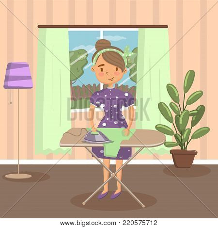 Woman housewife ironing clothes on an ironing board in living room colorful vector illustration.