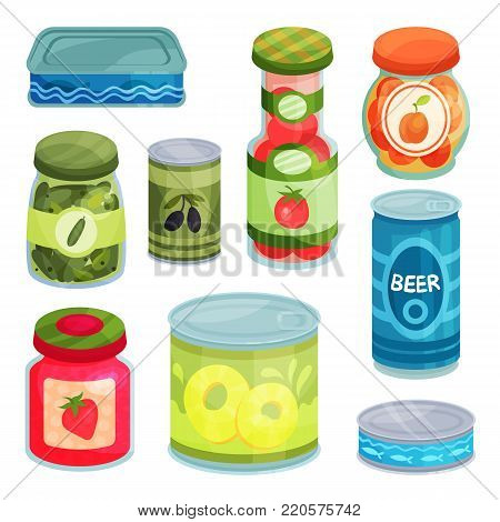 Canned goods, tinned food in a cans, glass jars and metal container cartoon vector Illustrations on a white background