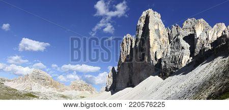 Tre cime di Lavaredo panoramic view (Italy)