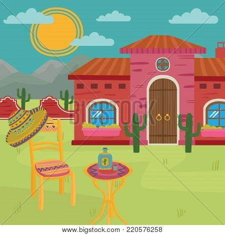 Mexican villa, traditional Mexican house and yard colorful vector illustration.