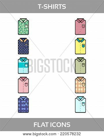 Simple Set of Clothes and shopping Vector flat Icons with outline. Contains such Icons as t-shirt of different patterns