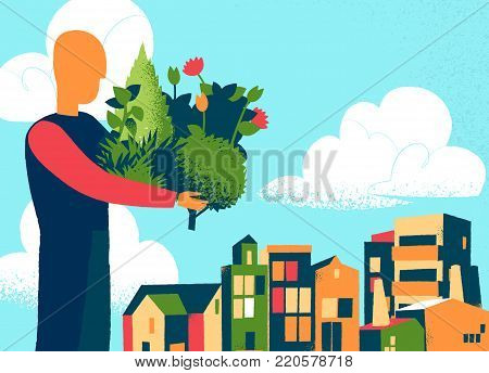Man bring plants and tress for the urban society