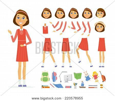 Schoolgirl - vector cartoon people character constructor isolated on white background. Set of different face expressions, poses, gestures for animation. A lot of school objects, books, computer, toys