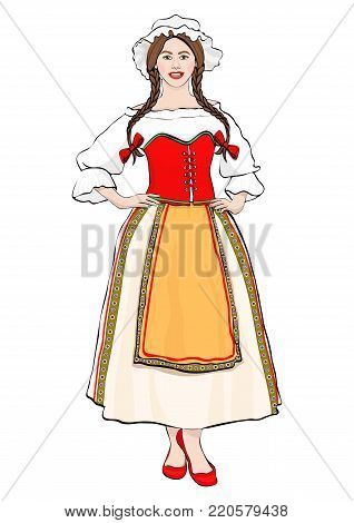 Girl In French National Costume Standing Front Side, Vector Drawing Portrait. A Brunette Woman Full-