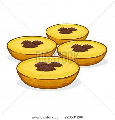 Vector stock of kue lumpur indonesian traditional food made from flour, potato, coconut milk and sugar with raisins on top