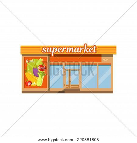 Supermarket facade, store with showcase vector Illustration on a white background