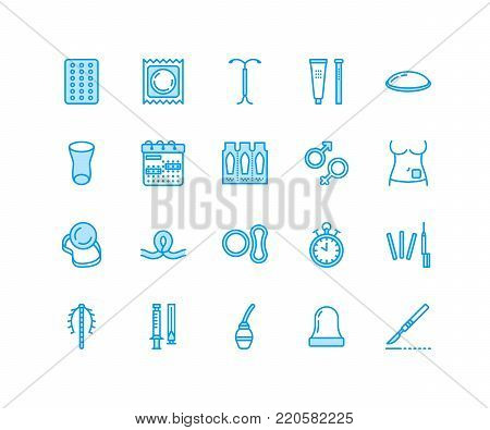 Contraceptive methods line icons. Birth control equipment, condoms, oral contraceptives, iud barrier contraception, vaginal ring, sterilization. Safe sex signs for medical clinic. Pixel perfect 64x64.