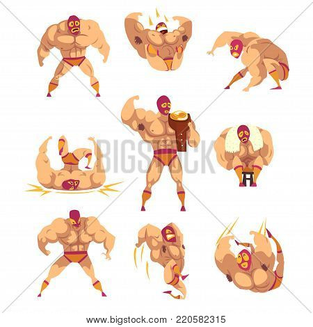 Set of professional muscular wrestler in different actions. Mixed martial artist. Combat sport concept. Cartoon strong man character in mask and sports shorts. Isolated flat vector illustration.