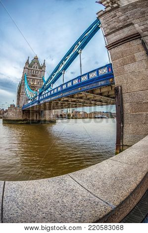 LONDON, ENGLAND - NOVEMBER 27, 2017: Fish Eye view architecture from Tower Bridge and London over river Thames.